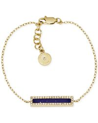 Michael Kors - Metallic Gold-Tone Lapis And Crystal Bar Bracelet - Lyst