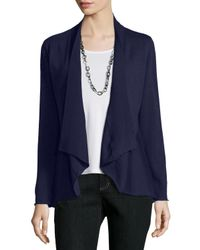 Eileen Fisher | Blue Merino Jersey Shaped Cardigan | Lyst