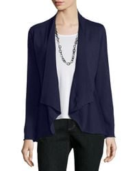Eileen Fisher - Blue Merino Jersey Shaped Cardigan - Lyst
