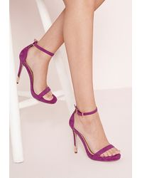 293e5c5bd4473a Lyst - Missguided Gold Trim Barely There Heeled Sandals Purple in Pink