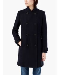 Mango - Blue Double-breasted Wool Coat - Lyst