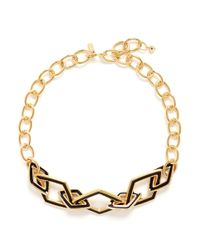 Kenneth Jay Lane | Metallic Rhombus Link Chain Necklace | Lyst