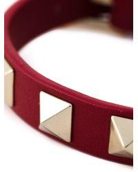 Valentino - Red 'Rockstud' Bracelet - Lyst