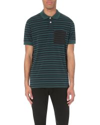 Paul Smith - Green Striped Regular-fit Cotton-jersey Polo Shirt for Men - Lyst