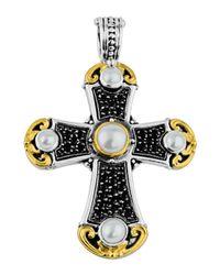Konstantino - White Large Spinel & Pearl Cross Pendant Enhancer - Lyst