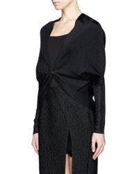 Lanvin - Black Lurex Knit Shawl Cardigan - Lyst