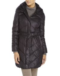 T Tahari | Black Belted Down Jacket | Lyst