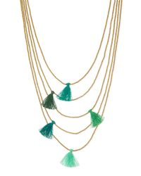 Nakamol - Green Multi-strand Beaded Tassel Necklace - Lyst