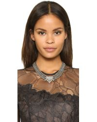 DANNIJO - Metallic Azita Necklace - Clear/ox Silver - Lyst