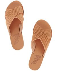 Ancient Greek Sandals - Brown Thais Perforated Leather Slides - Lyst