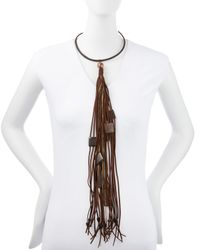 Donna Karan - Brown Leather Choker Necklace with Long Tassel - Lyst