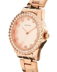 Sekonda - Metallic Rhinestone Surround Rose Gold Watch - Lyst