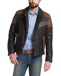 BOSS Orange - Black 'Jakuso-H' | Leather Biker Jacket for Men - Lyst