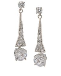 Carolee | Metallic Silver-tone Pave Pear Chandelier Earrings | Lyst