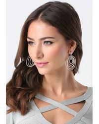 Bebe | Metallic Pave Multi-circle Earrings | Lyst