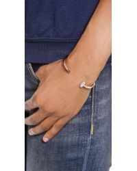 Giles & Brother - Pink Skinny Railroad Spike Pave Bracelet - Rose Gold/clear - Lyst