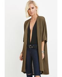 Forever 21 | Green Textured Open-front Cardigan | Lyst