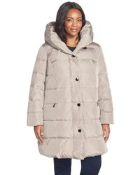 Gallery - Gray Pillow Hood Quilted Down & Feather Fill Stadium Coat - Lyst