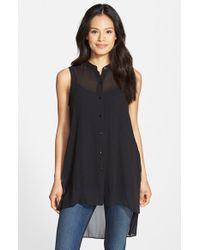 Eileen Fisher | Black Mandarin Collar Silk Tunic | Lyst