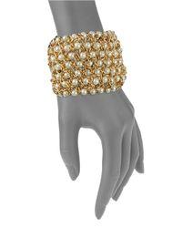 Kenneth Jay Lane | Metallic Faux Pearl Chain Cuff Bracelet | Lyst