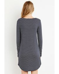 Forever 21 - Blue Striped T-shirt Dress - Lyst