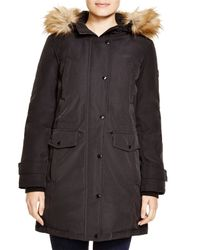 Kors by Michael Kors | Black Missy Parka With Faux-fur Trim | Lyst