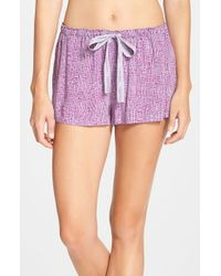 Calvin Klein - Purple Graffiti Floral Print Sleep Shorts - Lyst