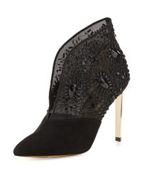 Ted Baker | Black Fausabia Embellished Mesh Bootie | Lyst