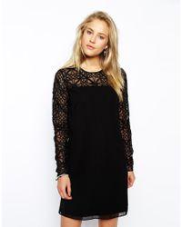 Needle & Thread - Black Lattice Sleeve Shift Dress - Lyst
