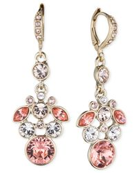 Givenchy - Pink Mixed-Tone Crystal Drop Earrings - Lyst