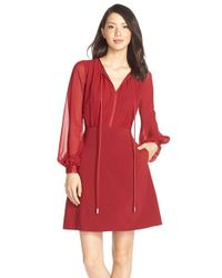 ERIN Erin Fetherston | Red 'brigitte' Chiffon & Crepe Fit & Flare Dress | Lyst