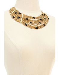 Forever 21 | Metallic Chained Faux Gemstone Necklace | Lyst