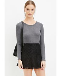 Forever 21 | Black Floral Lace Skater Skirt | Lyst