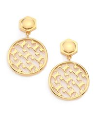 Tory Burch | Metallic Perforated Serif T Drop Earrings | Lyst