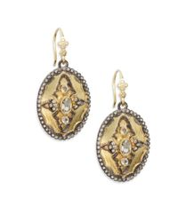 Armenta - Metallic Old World White Sapphire, Diamond & 18k Yellow Gold Oval Drop Earrings - Lyst