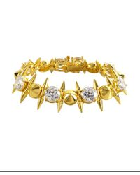 Noir Jewelry - Metallic Gold And Crystal Spike Bracelet - Lyst