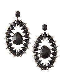 Bavna - Black Spinel Champagne Diamond Open Oval Drop Earrings - Lyst