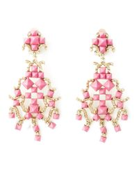Valentino | Pink 'rockstud' Chandelier Clip-on Earrings | Lyst