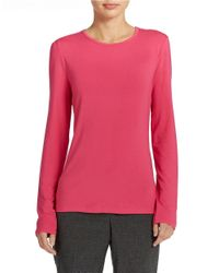 Lord & Taylor | Pink Jersey Crew Neck Top | Lyst