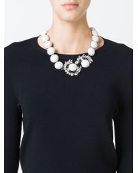 Shourouk - White 'marble' Necklace - Lyst