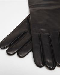 Zara | Black Long Leather Gloves | Lyst