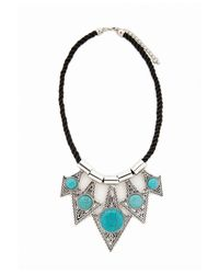 Missguided | Metallic Semi Precious Triangle Statement Necklace Silver | Lyst