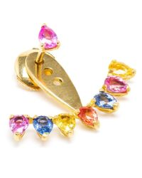 Yvonne Léon | Metallic 18k Gold And Rainbow Sapphire Lobe Earring | Lyst