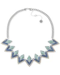 French Connection | Blue Silver-Tone Frontal Necklace | Lyst