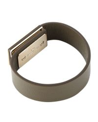 Valentino - Gray Leather Rockstud Bracelet - Lyst