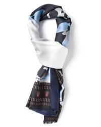 Givenchy - Blue Camouflage Print Scarf for Men - Lyst