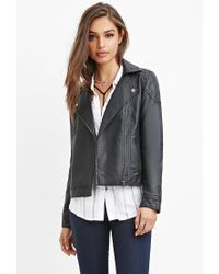 Forever 21 | Black Quilted Faux Leather Moto Jacket | Lyst
