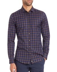 Strellson | Brown Check Cotton Sportshirt for Men | Lyst