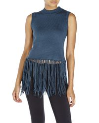 Re:named | Blue Sleeveless Fringe Sweater | Lyst