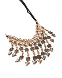 Forever 21 | Black Etched Faux Stone Statement Necklace | Lyst